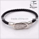 Wholesale Leather Cuff Bracelet Made of Black Leather with Shining Diamond Stainless Steel Clasp