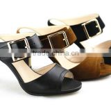 XG97 Women Sandal Leather PU strap with Buckle Block Heel Women sandal in Summer