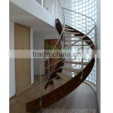 arc staircases with wood steps/steel wood double stringer curved staircae