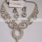 Fashion Wedding Crystal White Gold Metal Statement Necklace And Earrings, JSY Jewelry Sets