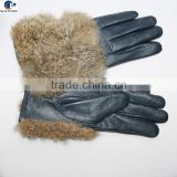 Yiwu factory cheap price ladies sheep leather gloves with real rabbit fur on the hand back