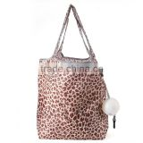new product Leopard spot ball shaped foldable reusable folding bag nylon shopping bag