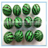 2015 New Custom Cheap Bulk Promotional Kids PU Colorful Print Watermelon Stress Balls Wholesale