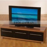 MDF TV Stand Walnut Black Gloss 3 Drawer Entertainment Unit For Up To 42""