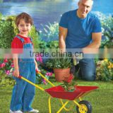 Outdoor educational toy Fancy wheelbarrow Garden wheel barrow for kids Mini metal wheelbarrow