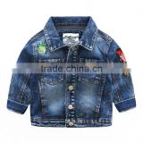 Fashion embroidered outerwear kids boys denim jackets in china