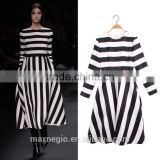 New Sexy Black White Stripes Chevron Print Strapless Evening Dress Fancy Maxi Dress Bodycon Dresses For Summer