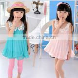 Brand New Summer Girls Lace Collar Chiffon Dress Kids Summer Casual Dresses Fashion Clothes for girls