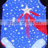 Gymnastics Leotard girls blue with stars and appliqued white holographic star and red holographic streamers