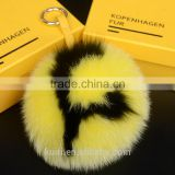 Fur Pom Pom Fluffy Heart letter 15cm big real Full Pelt fox fur ball keychains pluffy bag bug Women Bag Accessories