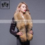 Custom lightweight zip up plain black winter folding down jacket with fur for women