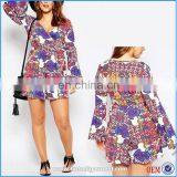 Chinese supplier women print playsuits with bell sleeve 3xl plus size dress romper for women 2015
