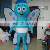 2017 cute butterfly custom mascot costume blue butterfly costume for adult