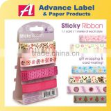 Polyester Organza Self adhesive For Scrapbook DIY Craft Gift Printed Christmas sticky ribbon set