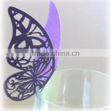 2016 elegant wine glass decoration laser cut place card butterfly pink from Mery Crafts SC111