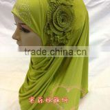 A551 Fashion modern BIG FLOWER HIGH QUALITY ISLAMIC HEADSCARF ONE PIECE LONG MUSLIM HIJAB