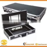 Black aluminum Locking flight storage case, tool storage carrying case,flight case with mirror