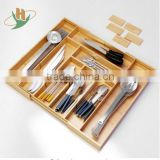 Multifunctional and practical bamboo extensible kitchen utensils cutlery drawer organizer                                                                         Quality Choice
