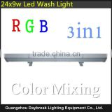 Waterproof IP65 24*9W RGB 3in1 led wall washer light long type led strip dmx512 led wall wash lighting