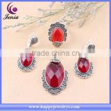 AAA red zircon stone ring ,earring ,pendant set thai silver heavy kundan jewelry set (C0585T7)