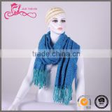 European style men and women Winter tassel Blue grid cashmere scarf