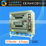 Professional commercial kitchen equipment 2 decks 4 trays best oven gas for baking bread