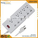 North America 6-Grounded AC Plugs Power Socket 5.9ft Cord Home/Office Surge Protector/Power Strip with 4 USB Ports