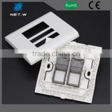 White color two ports Ethernet wall plate, rj45 network faceplate work with keystine jack
