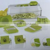 plastic food safe 3 in1 4 in1 5 in 1 mandoline slicer with 5 different stainless steel blades and container