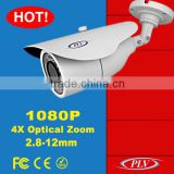 audio input and output 2.8-12mm 4X motorized zoom hd 1080p ip poe camera 2 megapixel bullet outdoor p2p ip network camera