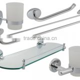 5 Piece Wall Kit in Chrome Includes: Tumbler, Toilet Paper Holder, Double Towel Bar, Glass Shelf