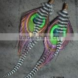 Indian natural peacock feather and grizzly feather earrings