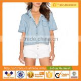 Summer Cool Light Denim, Front Patch Pocket ,Shirttail Hem and Button Up Blue Tops Women Shirts                                                                         Quality Choice