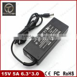 China Manufacturer 15V 5A 75W 6.3*3.0 Laptop AC Power Adapter Charger For TOSHIBA M100 M200 R100 S2100 PA3283U PA2450U