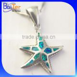 Rhodium Plated Starfish Jewelry 925 Sterling Silver Synthetic Opal Starfish Pendant Necklace