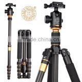 Q666C New arrival extendable professional carbon fiber tripod light weight video camera tripod 350mm monopod stand