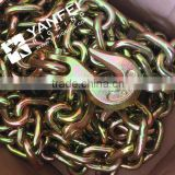 Yellow Zinc Plated G70 Transport Binder Chain With Hook