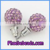 Wholesale Cheap 10mm Shamballa Crystal Rhinestone Stud Earrings Lavender Disco Ball Silver Plated Jewelry Women High Quality SCE