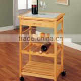 100% eco-friendly Bamboo Kitchen Furniture Kitchen Trolley with draw and basket multifunction Kitchen Cart with wine rack