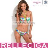 Wholesale Swimwear! Doodle Push-Up Bandeau Young Sexi Girl Bikini Swimwear Model with Neon Yellow Neck Ties by RELLECIGA