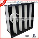 High efficient ABS plastic frame v bank fibreglasss combined ventilation Filter