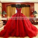 (MY0805) MARRY YOU 2016 Bridal Gown Sweetheart Long Train Red Ball Gown Wedding Dress                                                                         Quality Choice
