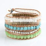 Five laps fashion leather bracelet Natural opal Pure manual weaving charm bracelets bangles for women jewelry wholesale