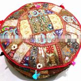 Indian Bohemian Patchwork Pouf Ottoman Vintage Indian Moroccan Chair Bean Bag