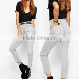 Guangzhou clothing wholesale supplier latest style light color legging women high waist jeans