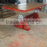 Red Industrial Crank Dining Table, Industrial Heavy Dining Table