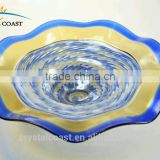 wholesale colored art gold glass plates for solar garden light shade cover for table decoration