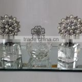 jewelled empty crystal perfume bottle & trinket box with mirror tray