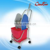 Down-press Single Mop Wringer Bucket Trolley