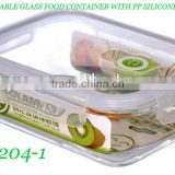 Rectangular Glass Food Container with Smile Design Lock Lid